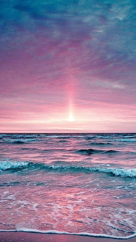 Coucher soleil rose